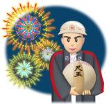 尺玉を持つ熟練の花火師のイラスト