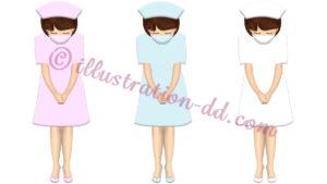 マスクしたナースがお辞儀するイラスト(3色のナース服)