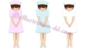 ナースがお辞儀するイラスト(3色のナース服)
