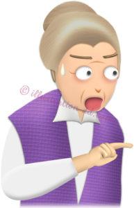 指を差して驚くお婆さんのイラスト