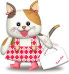 テイクアウトの袋を持つ猫のイラスト