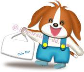 テイクアウトの袋を持つ犬のイラスト