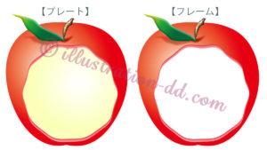 リンゴの飾り枠イラスト