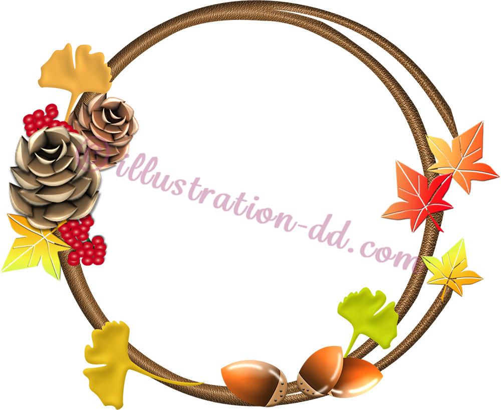木の実と紅葉の飾り枠イラスト