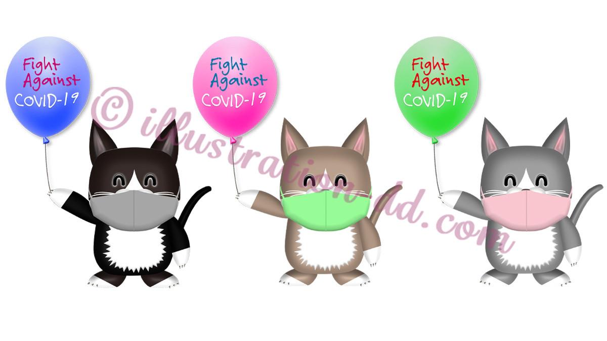 「Fight Against COVID-19」の風船を持つ猫