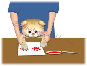 猫の肉球型をとる飼い主のイラスト