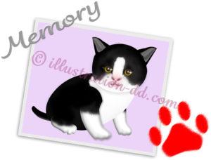 猫の写真と手形のイラスト