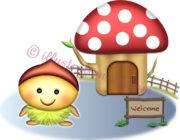 栗キャラとキノコの家のイラスト