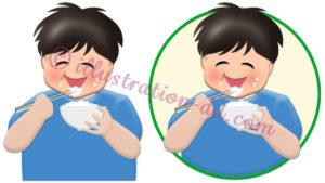 ご飯を食べる男の子のイラスト