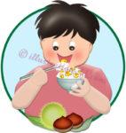 栗ご飯を食べる男の子のイラスト