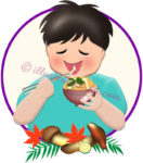松茸ご飯を食べる男の子のイラスト