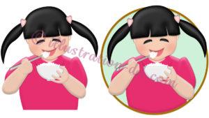 ご飯を食べる女の子のイラスト