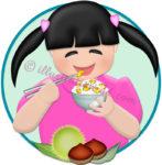 栗ご飯を食べる女の子のイラスト