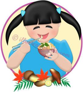 松茸ご飯を食べる女の子のイラスト