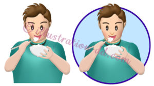 ご飯を食べる男性のイラスト