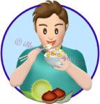 栗ご飯を食べる男性のイラスト