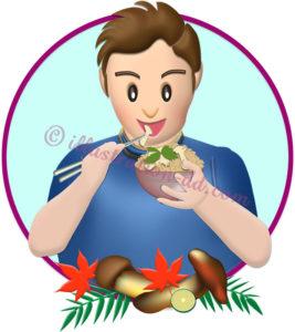 松茸ご飯を食べる男性のイラスト