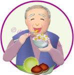 栗ご飯を食べるお爺さんのイラスト
