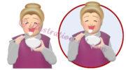 ご飯を食べるおばあさんのイラスト