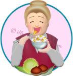 栗ご飯を食べるお婆さんのイラスト