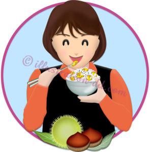栗ご飯を食べる女性のイラスト