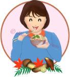 松茸ご飯を食べる女性のイラスト