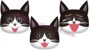 笑う猫顔3点セット(ハチワレ・黒)のイラスト
