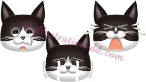 泣く猫顔3点セット(ハチワレ・黒)のイラスト