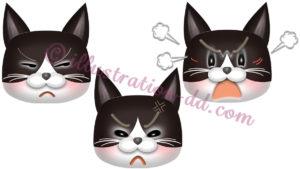 怒る猫顔3点セット(ハチワレ・黒)のイラスト