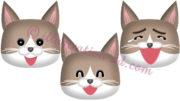 猫の顔・ハチワレ茶・笑う3点セットのイラスト