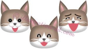 猫笑う顔3点セット(ハチワレ猫・茶)のイラスト