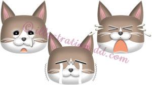 泣く猫顔3点セット(ハチワレ・茶)のイラスト