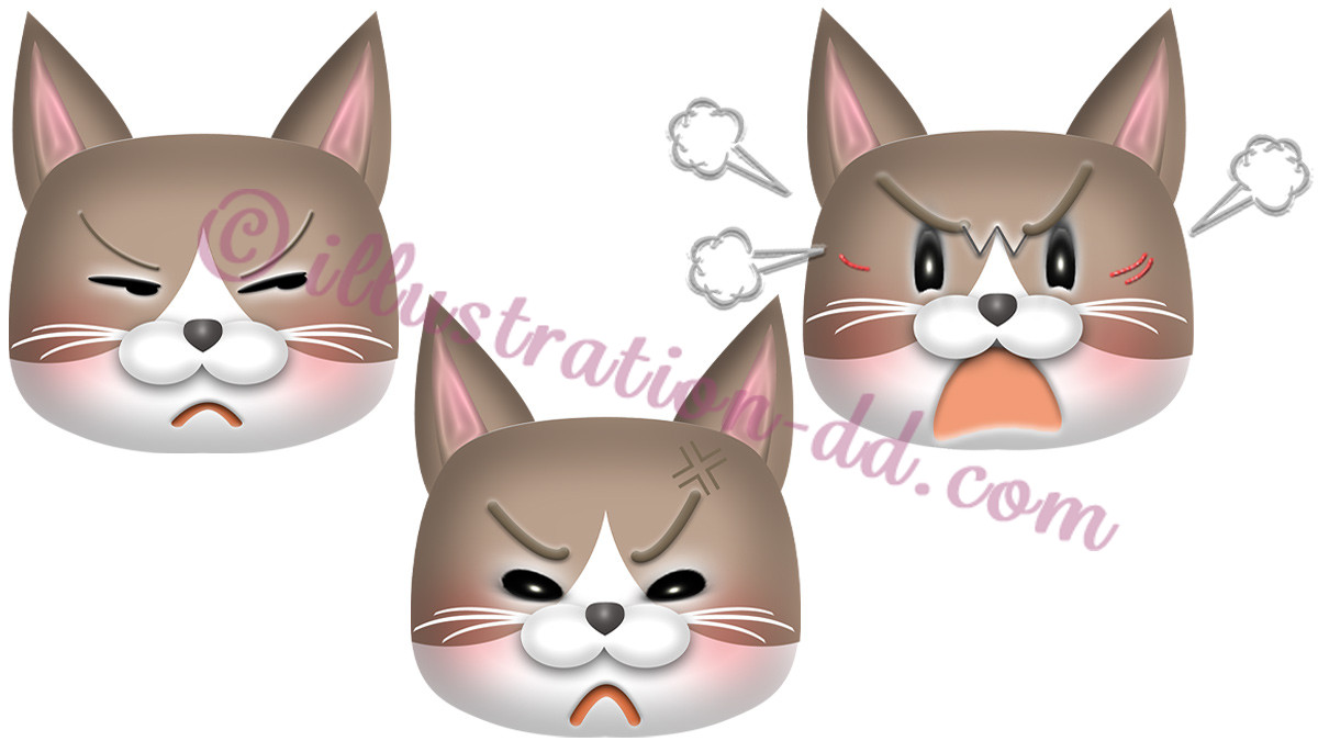 怒る猫顔3点セット(ハチワレ・茶)のイラスト