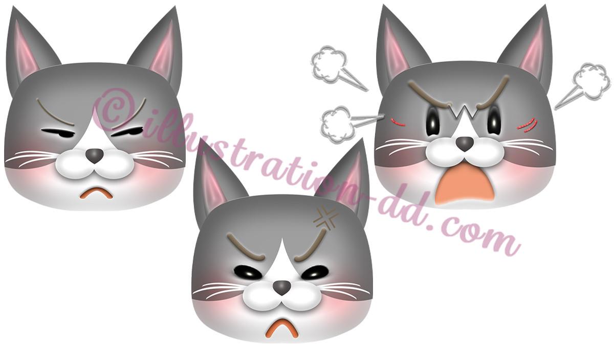 怒る猫顔3点セット(ハチワレ・灰)のイラスト