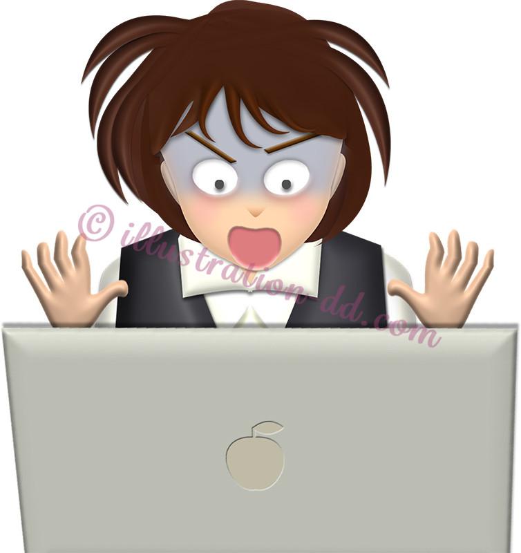 パソコン画面を見て驚くOLのイラスト