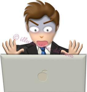 パソコン画面を見て驚くビジネスマンのイラスト