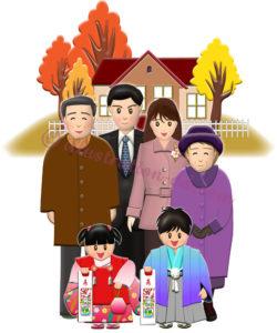 両親・祖父母と七五三の子どもたちのイラスト