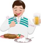 高カロリーの食事を摂る男性Aのイラスト