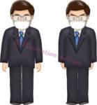 マスクをした眼鏡のビジネスマンのイラスト2点