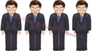 直立した可愛いメガネのビジネスマン4点のイラスト
