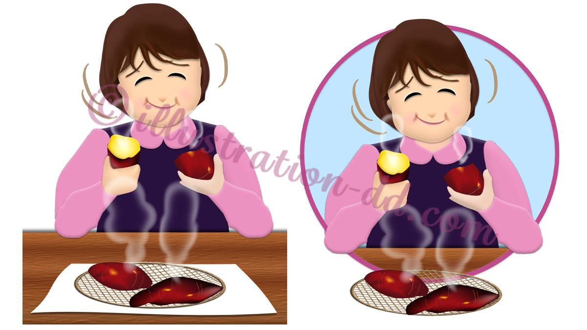 焼きイモを食べる女性のイラスト
