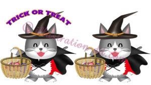 ハロウィンの仮装したネコのイラスト