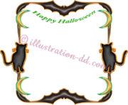 ハロウィン蝙蝠と猫の飾り枠