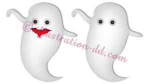 ハロウィン幽霊2点セットのイラスト
