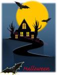 満月ハロウィンの家のイラスト