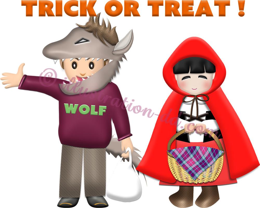 狼と赤ずきんちゃんの仮装した子供たちのイラスト