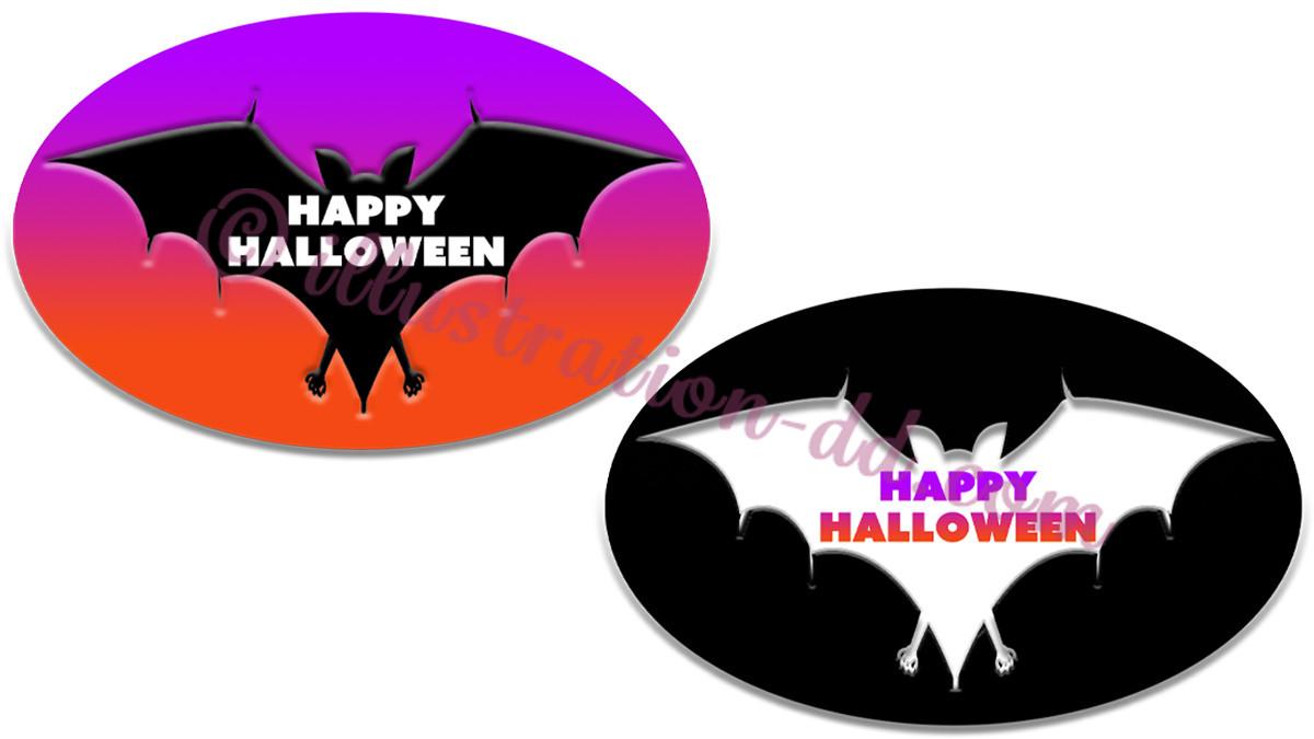 「HappyHalloween」コウモリ型ロゴのイラスト