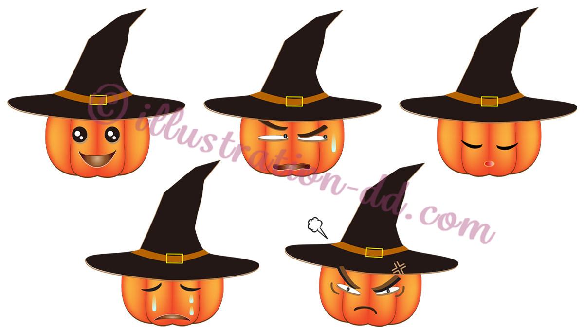 ハロウィンかぼちゃ顔5種のイラスト
