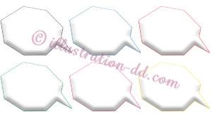 吹き出し・多角形型立体枠線6色セット素材
