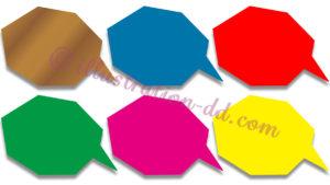 吹き出し・多角形型ベタ塗り影付き6色セット素材